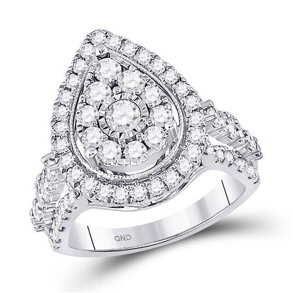 Diamond Pear Teardrop Ring 1-3/4 Cttw 14kt White Gold