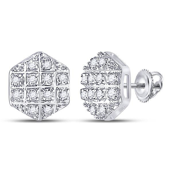 Mens Diamond Hexagon Earrings 1/10 Cttw 10kt Yellow Gold