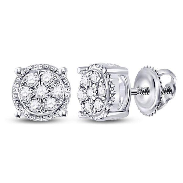 Diamond Flower Cluster Earrings 1/6 Cttw 10kt White Gold