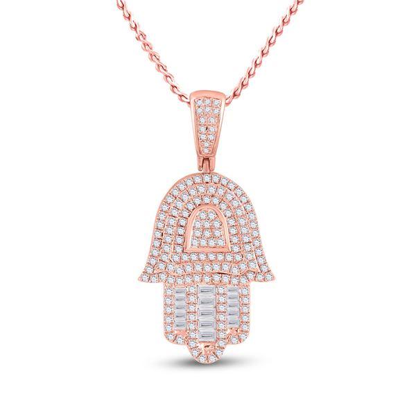 Mens Baguette Diamond Hamsa Hand Charm Pendant 3/4 Cttw 10kt Rose Gold
