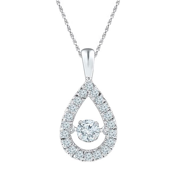 Diamond Moving Twinkle Solitaire Teardrop Pendant 3/8 Cttw 10kt White Gold
