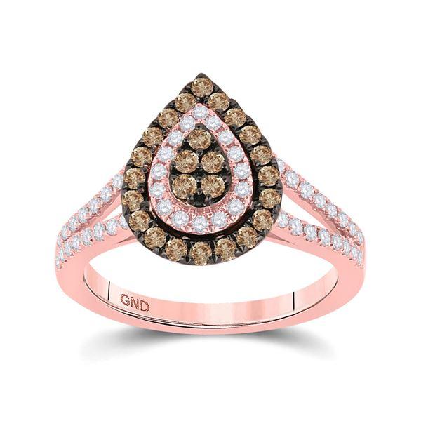 Brown Diamond Teardrop Ring 3/4 Cttw 14kt Rose Gold