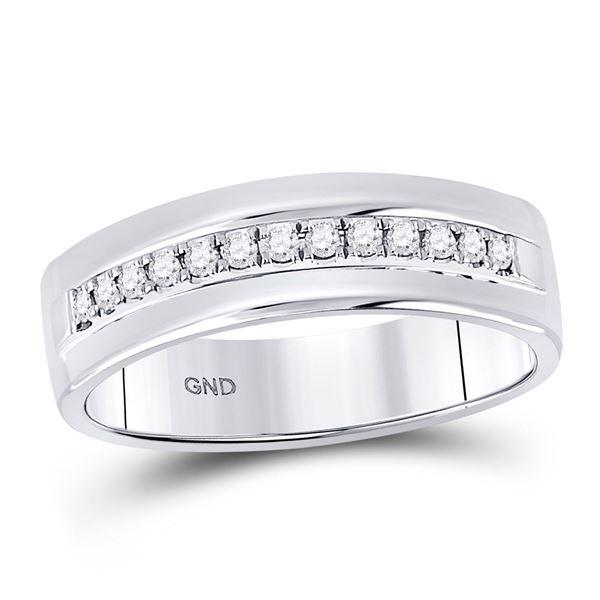 Mens Machine Set Diamond Wedding Band Ring 1/5 Cttw 14kt White Gold