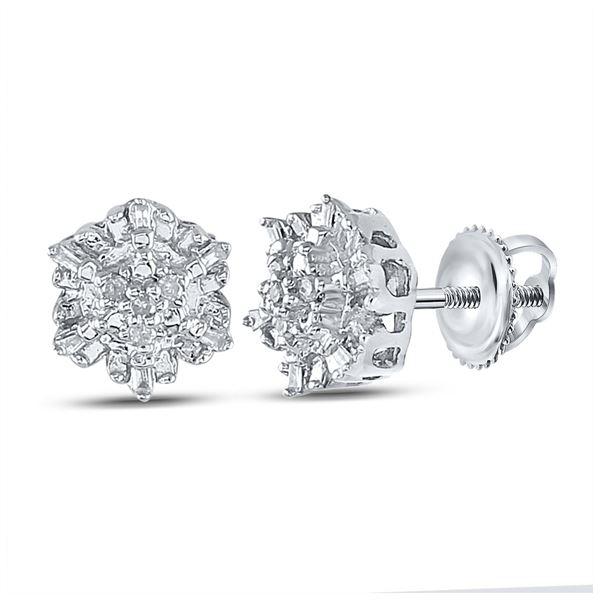 Diamond Cluster Earrings 1/10 Cttw Sterling Silver