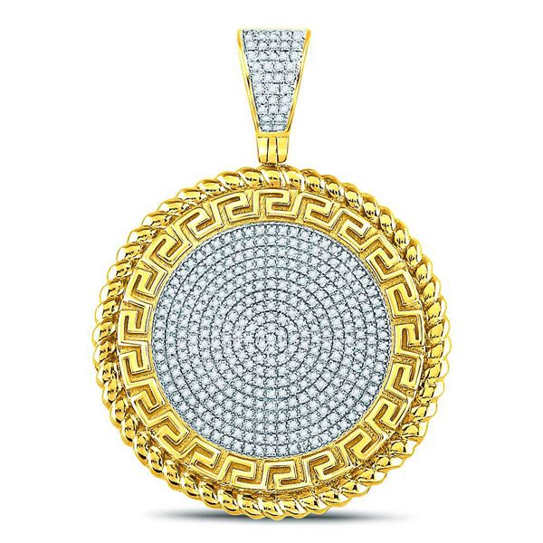 Mens Diamond Greek Key Circle Charm Pendant 5/8 Cttw 10kt Yellow Gold