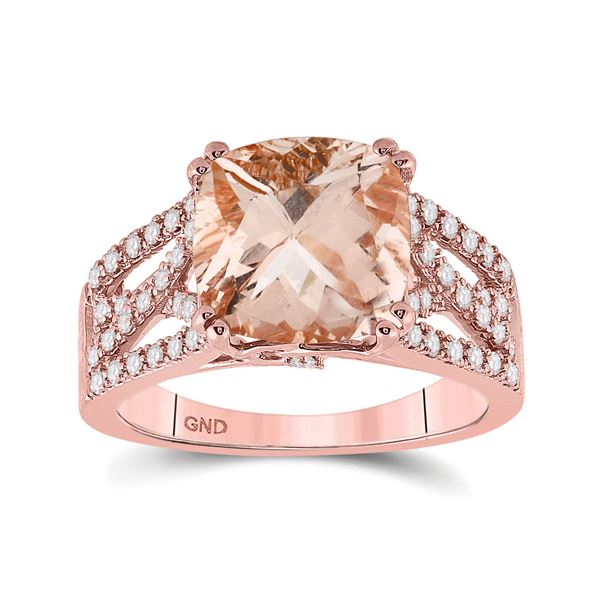 Cushion Morganite Diamond Solitaire Ring 4 Cttw 14kt Rose Gold