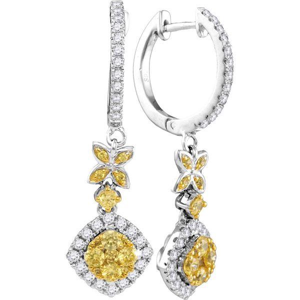 Yellow Diamond Cocktail Dangle Earrings 1 Cttw 14kt White Gold