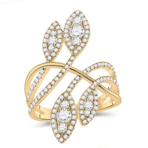 Diamond Statement Fashion Ring 1-1/5 Cttw 14kt Yellow Gold