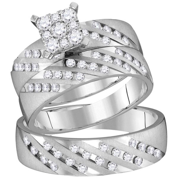 His Hers Diamond Square Matching Wedding Set 7/8 Cttw 14kt White Gold