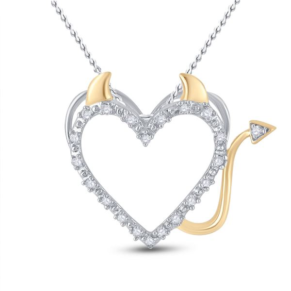 Diamond Devil Naughty Heart Pendant 1/20 Cttw Sterling Silver