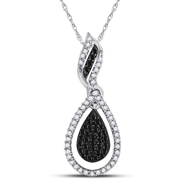 Black Color Enhanced Diamond Teardrop Pendant 1/3 Cttw 10kt White Gold