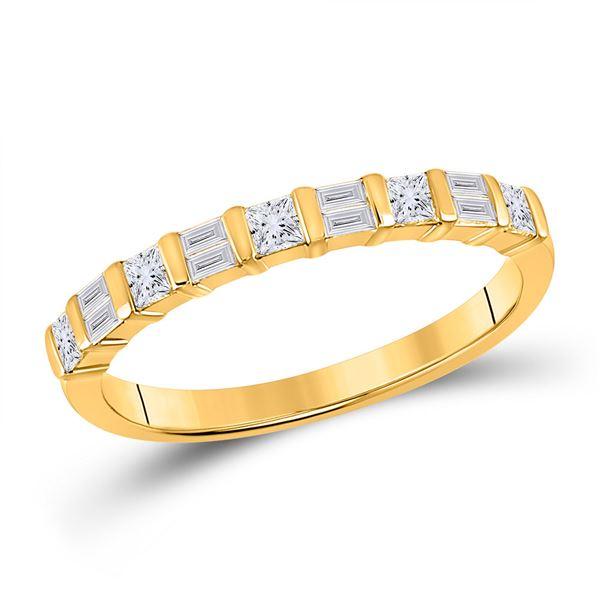 Baguette Princess Diamond Band Ring 1/2 Cttw 14kt Yellow Gold