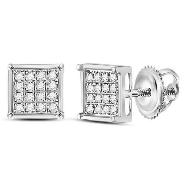 Diamond Square Earrings 1/10 Cttw 10kt White Gold