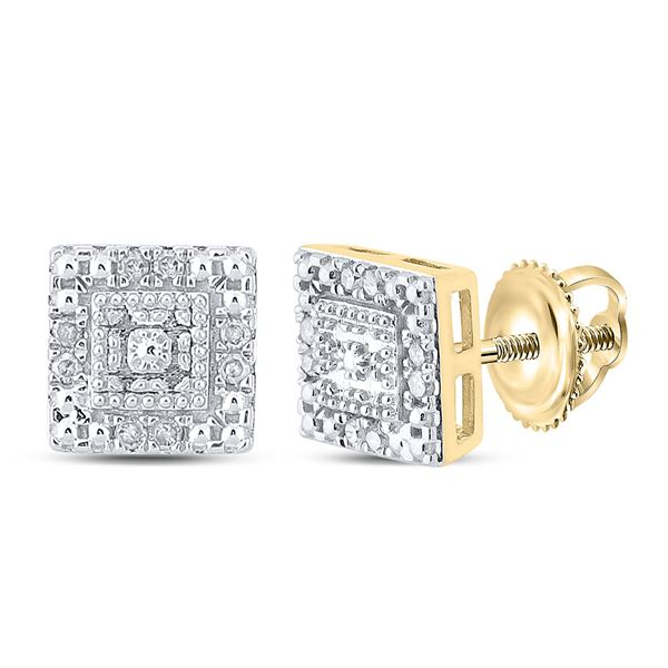 Diamond Square Earrings 1/8 Cttw 10kt Yellow Gold