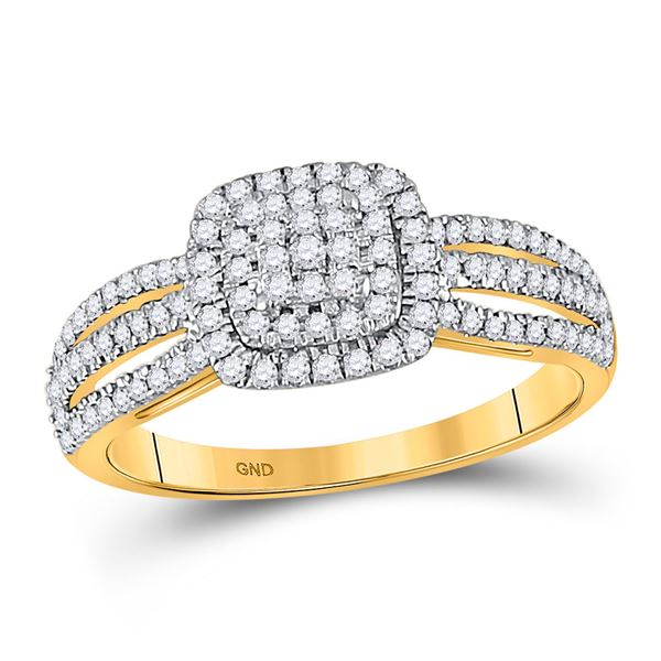 Diamond Cluster Bridal Wedding Engagement Ring 3/8 Cttw 10kt Yellow Gold