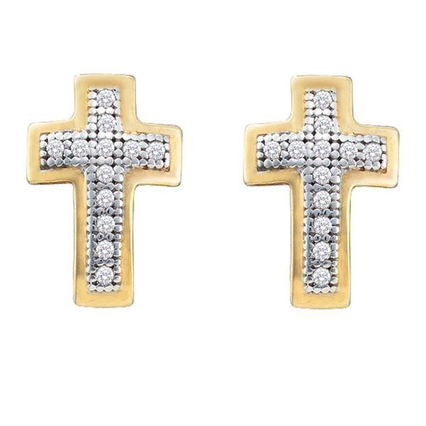 Diamond Cross Earrings 1/10 Cttw 10kt Yellow Gold
