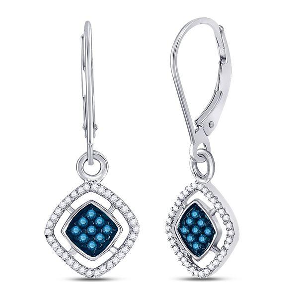 Blue Color Enhanced Diamond Dangle Earrings 1/3 Cttw 10kt White Gold
