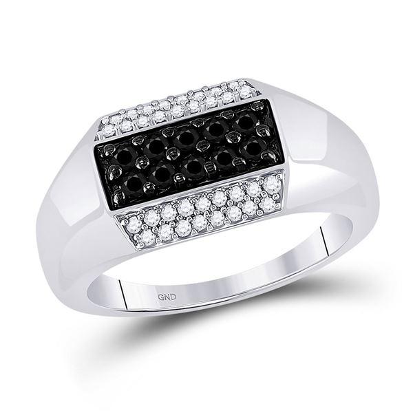 Mens Black Color Enhanced Diamond Band Ring 3/4 Cttw 10kt White Gold