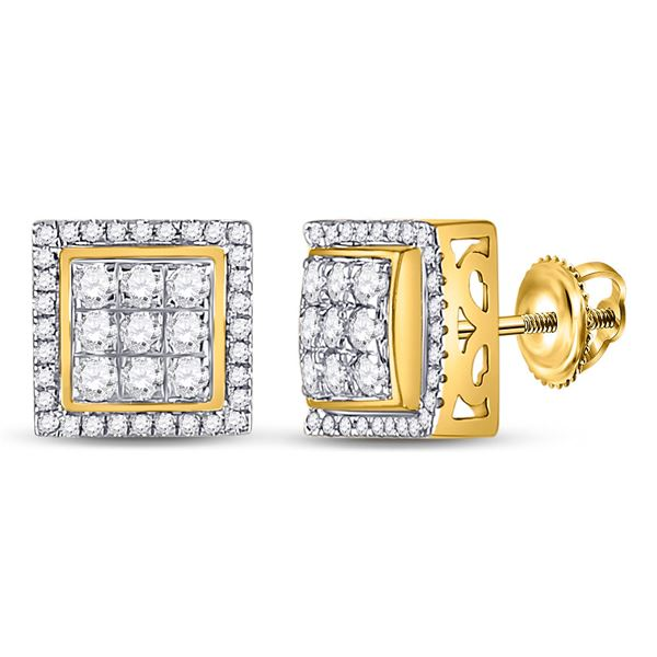Mens Diamond Square Cluster Earrings 3/4 Cttw 10kt Yellow Gold