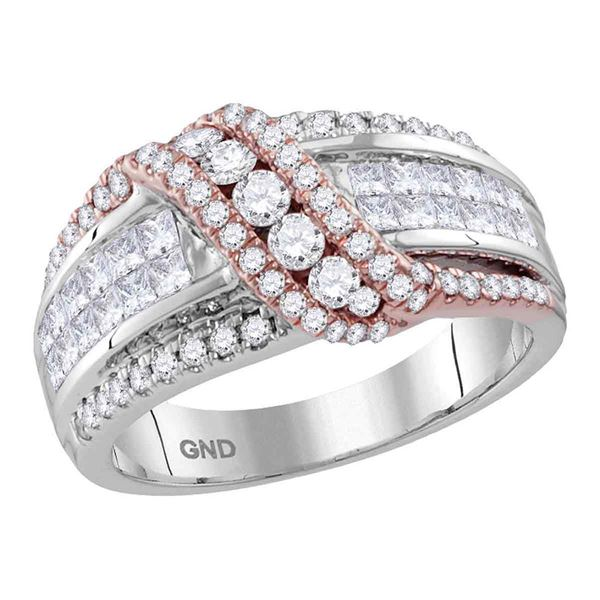 Princess Diamond Crossover Band Ring 1-1/2 Cttw 14kt Two-tone Gold