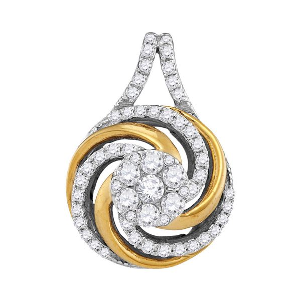 Diamond Swirl Cluster Pendant 1/2 Cttw 10kt Two-tone Gold