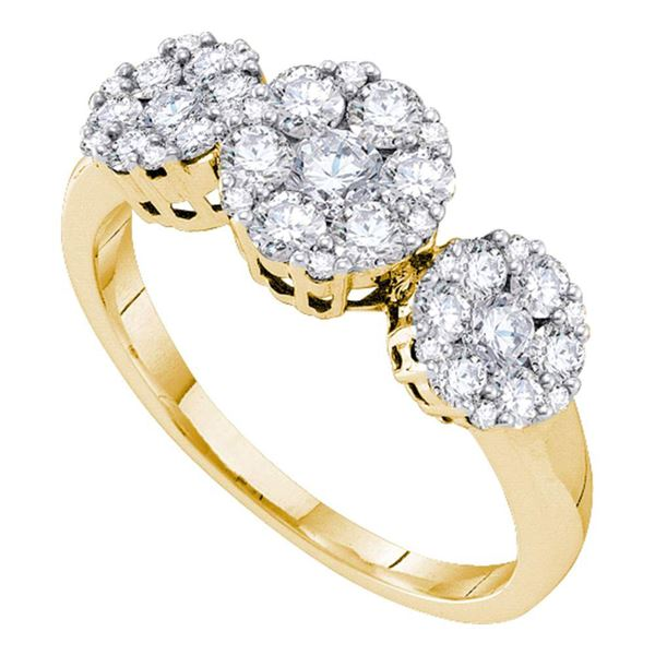 Diamond 3-stone Ring 1 Cttw 14kt Yellow Gold