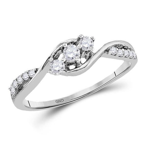 Diamond 3-stone Promise Ring 1/5 Cttw 10kt White Gold