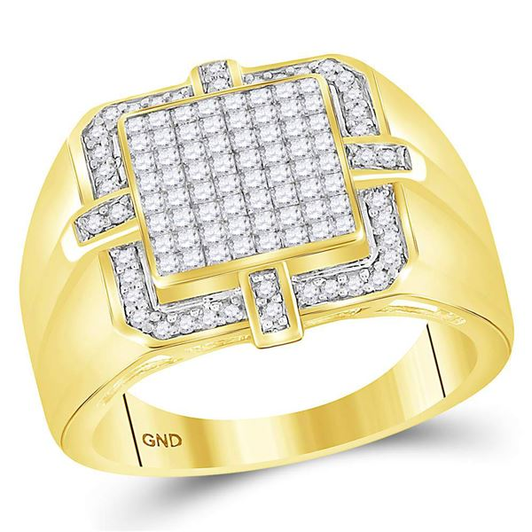 Mens Princess Diamond Square Frame Cluster Ring 1 Cttw 10kt Yellow Gold