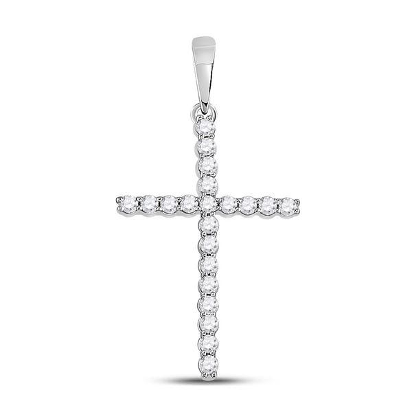 Diamond Cross Pendant 1/5 Cttw 10kt White Gold