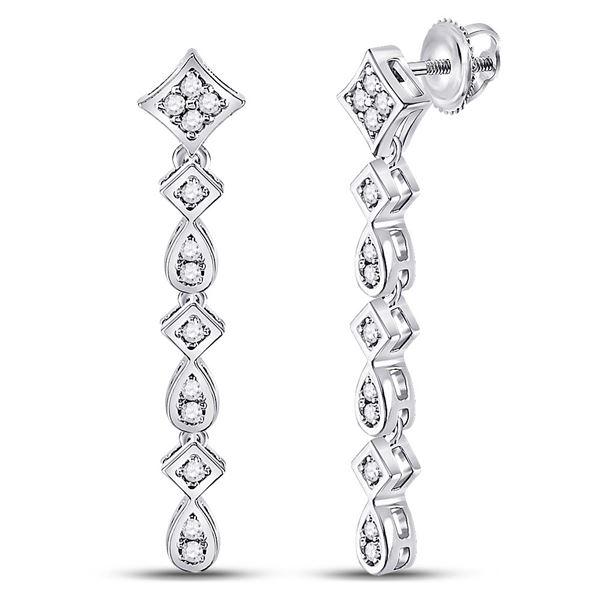 Diamond Square Teardrop Dangle Earrings 1/5 Cttw 14kt White Gold