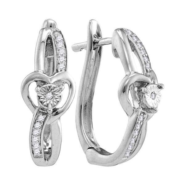 Diamond Heart Hoop Earrings 1/20 Cttw Sterling Silver