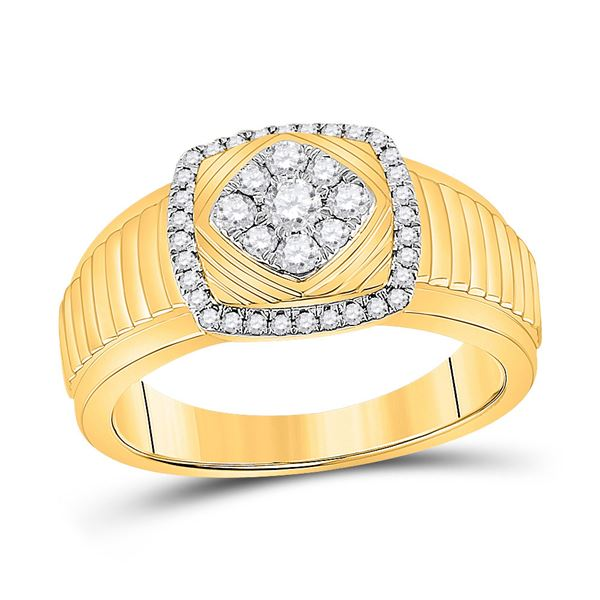 Mens Diamond Ribbed Square Cluster Ring 1/2 Cttw 10kt Yellow Gold