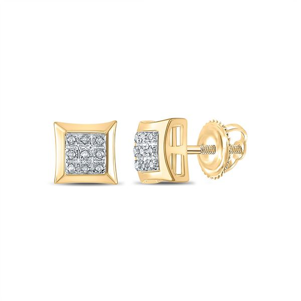 Mens Diamond Square Cluster Earrings 1/20 Cttw 10kt Yellow Gold