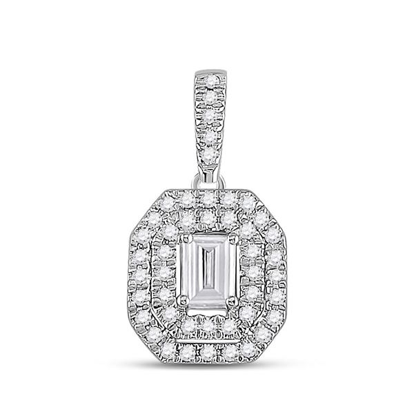 Emerald Diamond Fashion Halo Pendant 1/4 Cttw 14kt White Gold