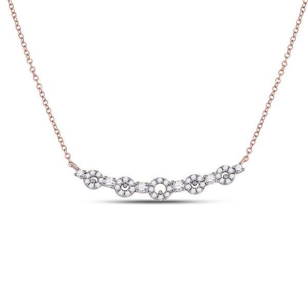 Diamond Circle Bar Necklace 1/3 Cttw 14kt Rose Gold
