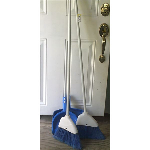 TWO Brooms and TWO Dustpans