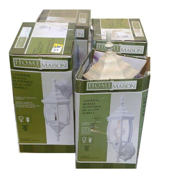 Four White Lantern Light Fixtures