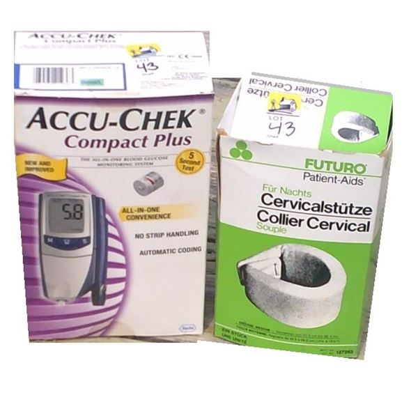 Accucheck meter and neck brace