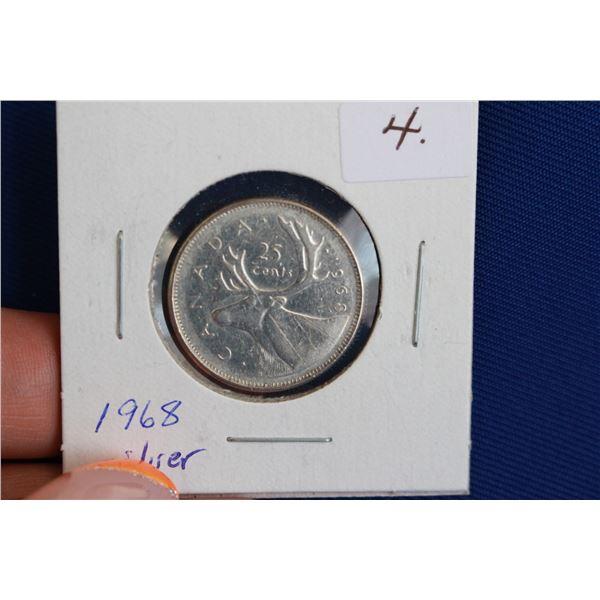 Canada Twenty-five Cent Coin - 1968, Silver