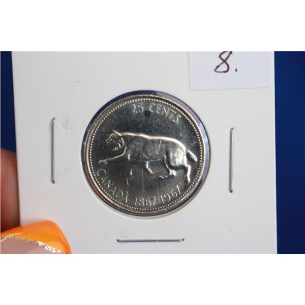 Canada Twenty-five Cent Coin - 1967, Silver
