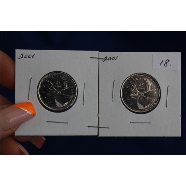 Canada Twenty-five Cent Coins (2) - 2001P, 2001; MS