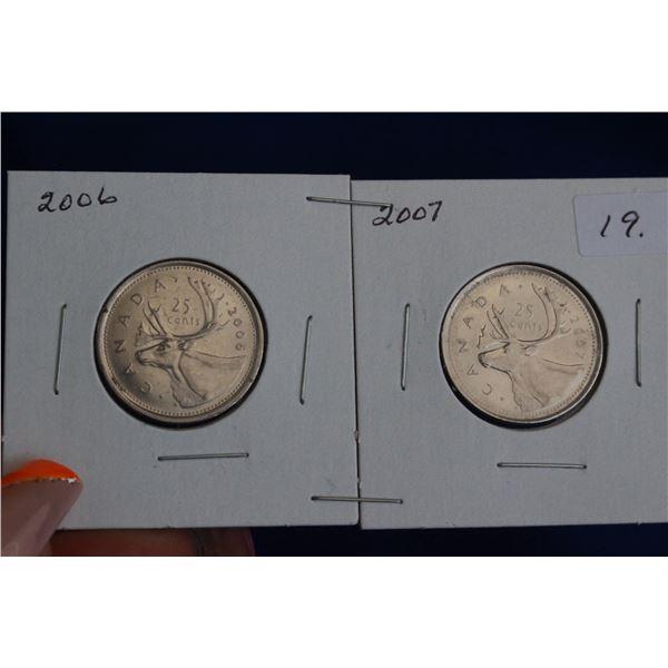 Canada Twenty-five Cent Coins (2) - 2006P, 2006 RCM Logo; MS