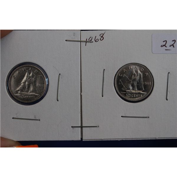 Canada Ten Cent Coins (2) - 1968; One is Silver