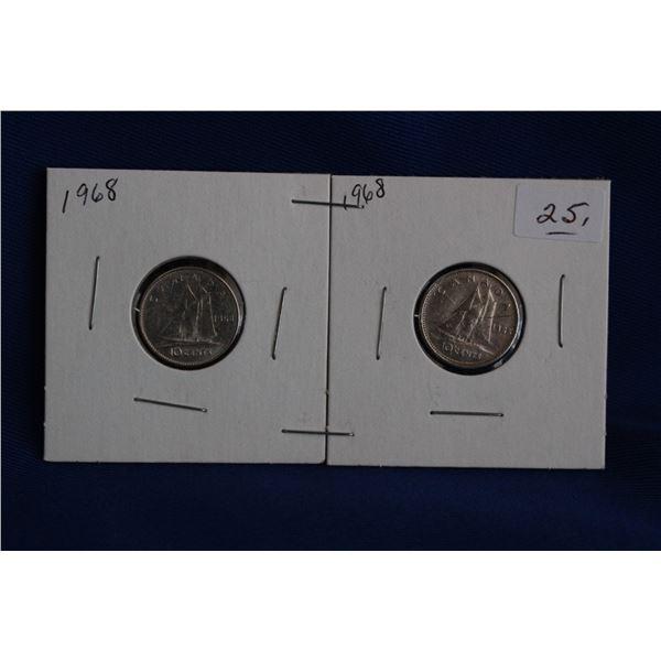 Canada Ten Cent Coins (2) - 1968; Both are Silver