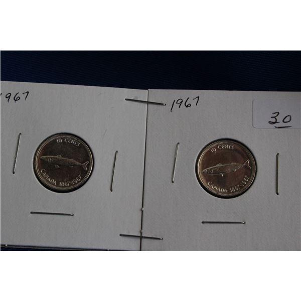 Canada Ten Cent Coins (2) - 1967, Silver