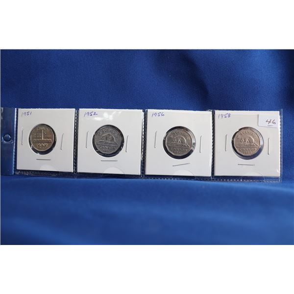 Canada Five Cent Coins (4) - 1951, 1952, 1956, 1958