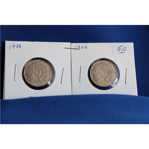 Canada Five Cent Coins (2) - 1936