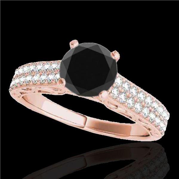 1.41 ctw Certified VS Black Diamond Solitaire Antique Ring 10k Rose Gold - REF-47N6F