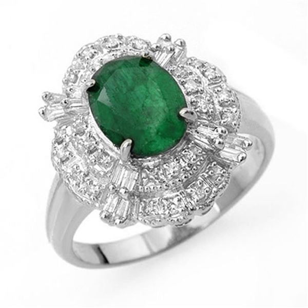 3.31 ctw Emerald & Diamond Ring 18k White Gold - REF-89M3G