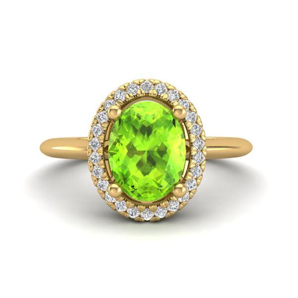 1.75 ctw Peridot & Micro VS/SI Diamond Ring Halo 18k Yellow Gold - REF-39N8F